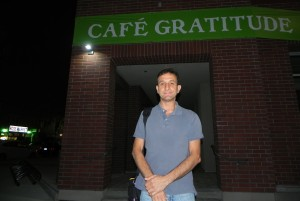 Cafe Gratitude Venice at night